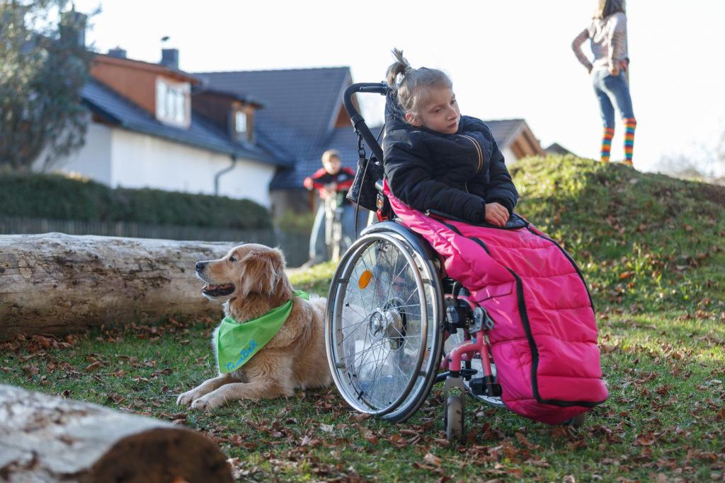 Hund Timber und Kind im Rollstuhl