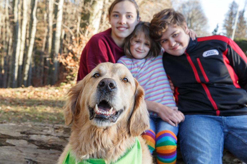 Hund Timber im Vordergrund - dahinter 3 lachende Kinder