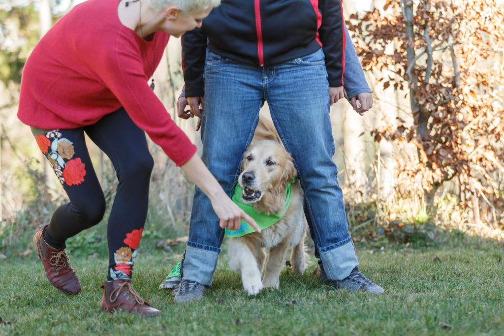 Hund Timber läuft durch die Beine von Jugendlichen