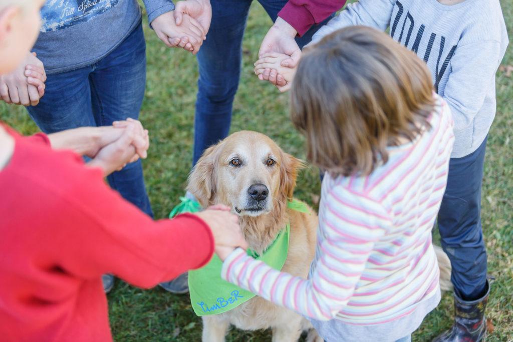 Hund Timber im Kreis der Kinder