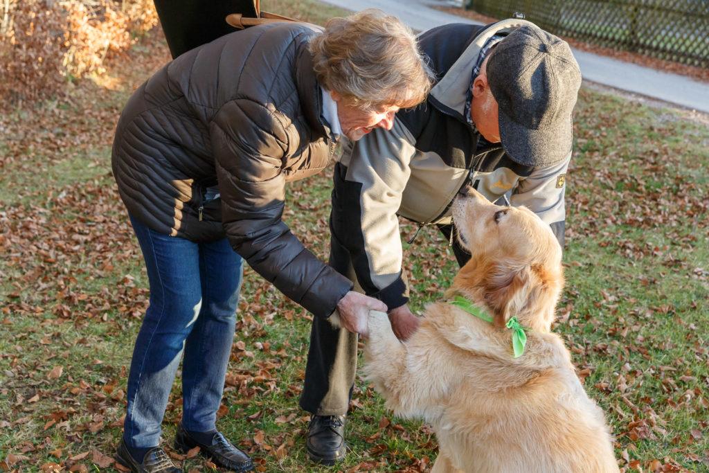 Begrüssung - Hund Timber und Senioren Paar