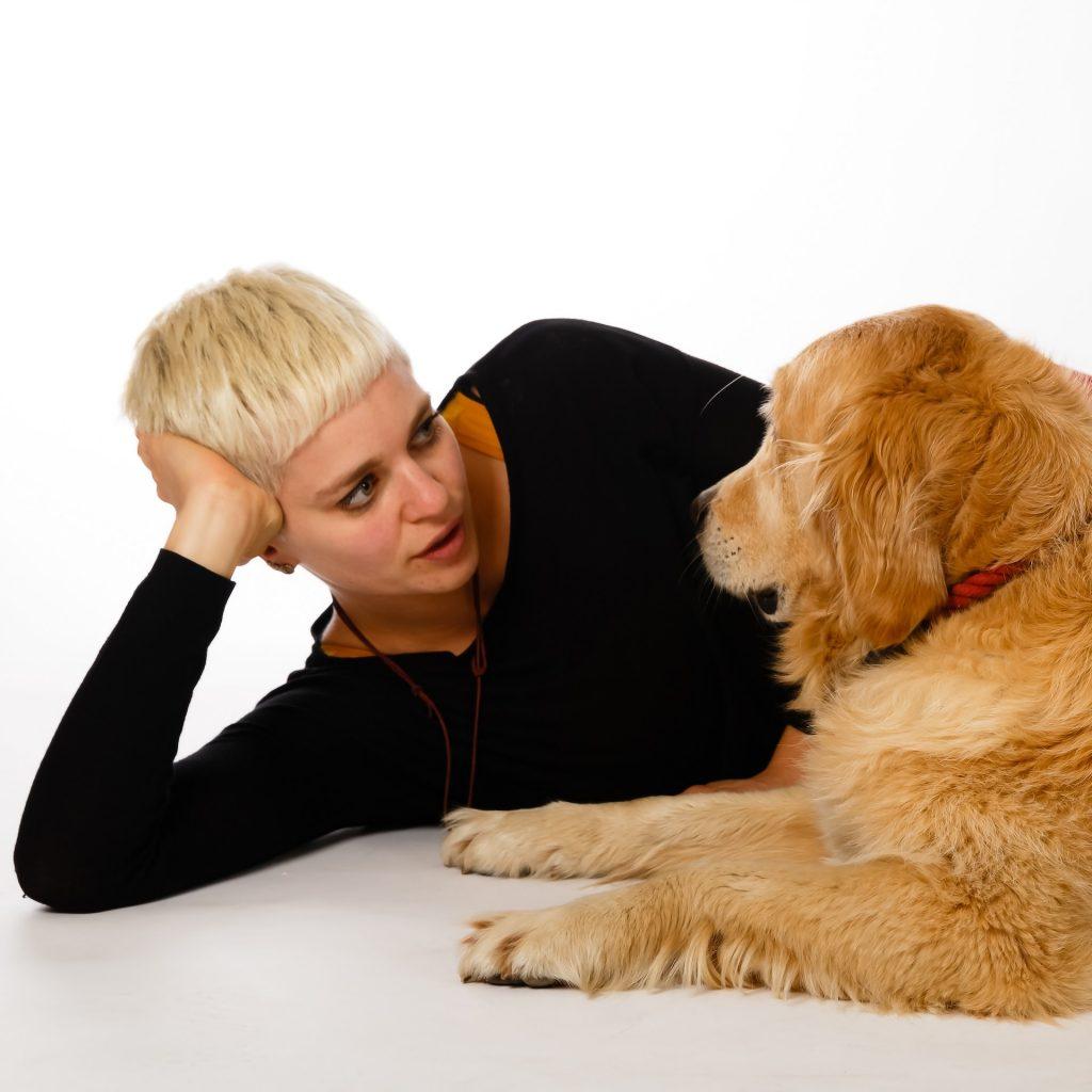 Hund Timber und Johanna liegen sich gegenüber