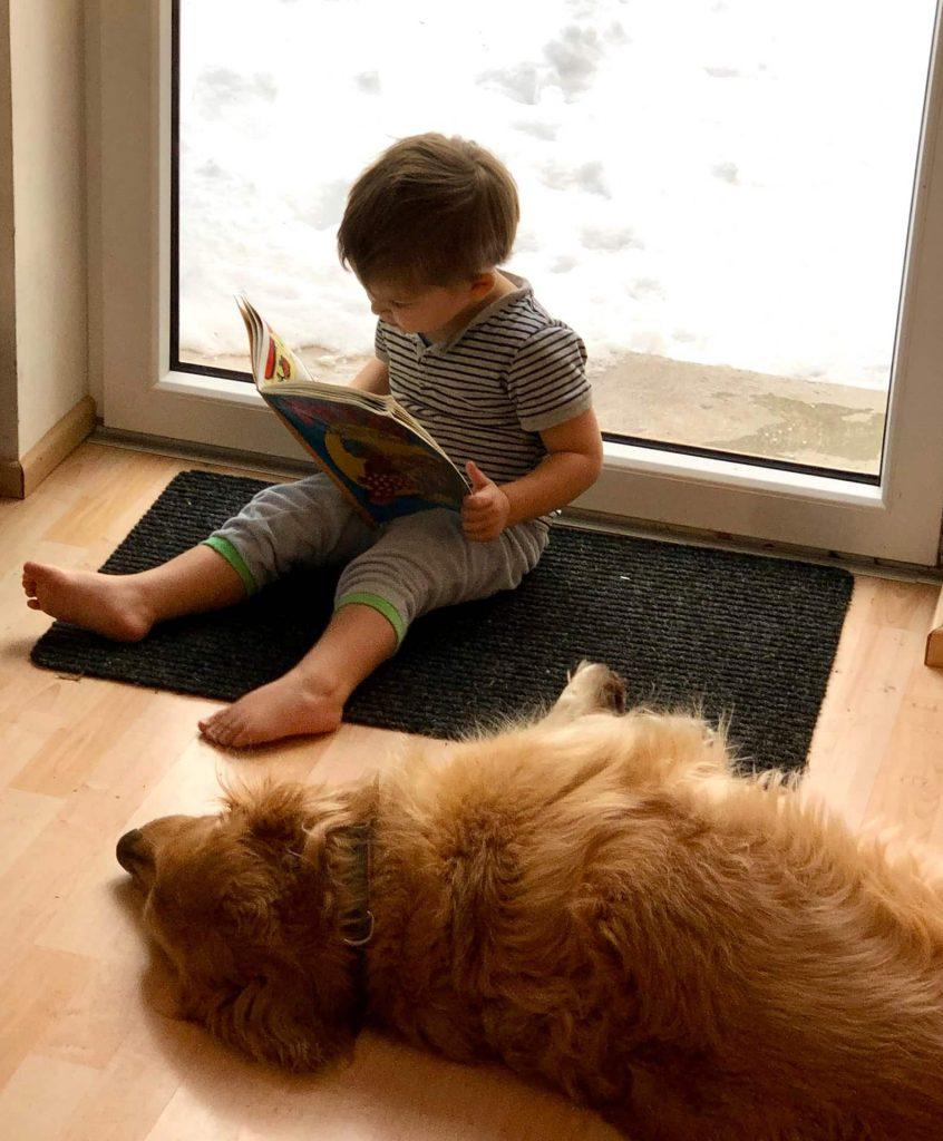 Timber schlafend neben einem Junge mit Buch