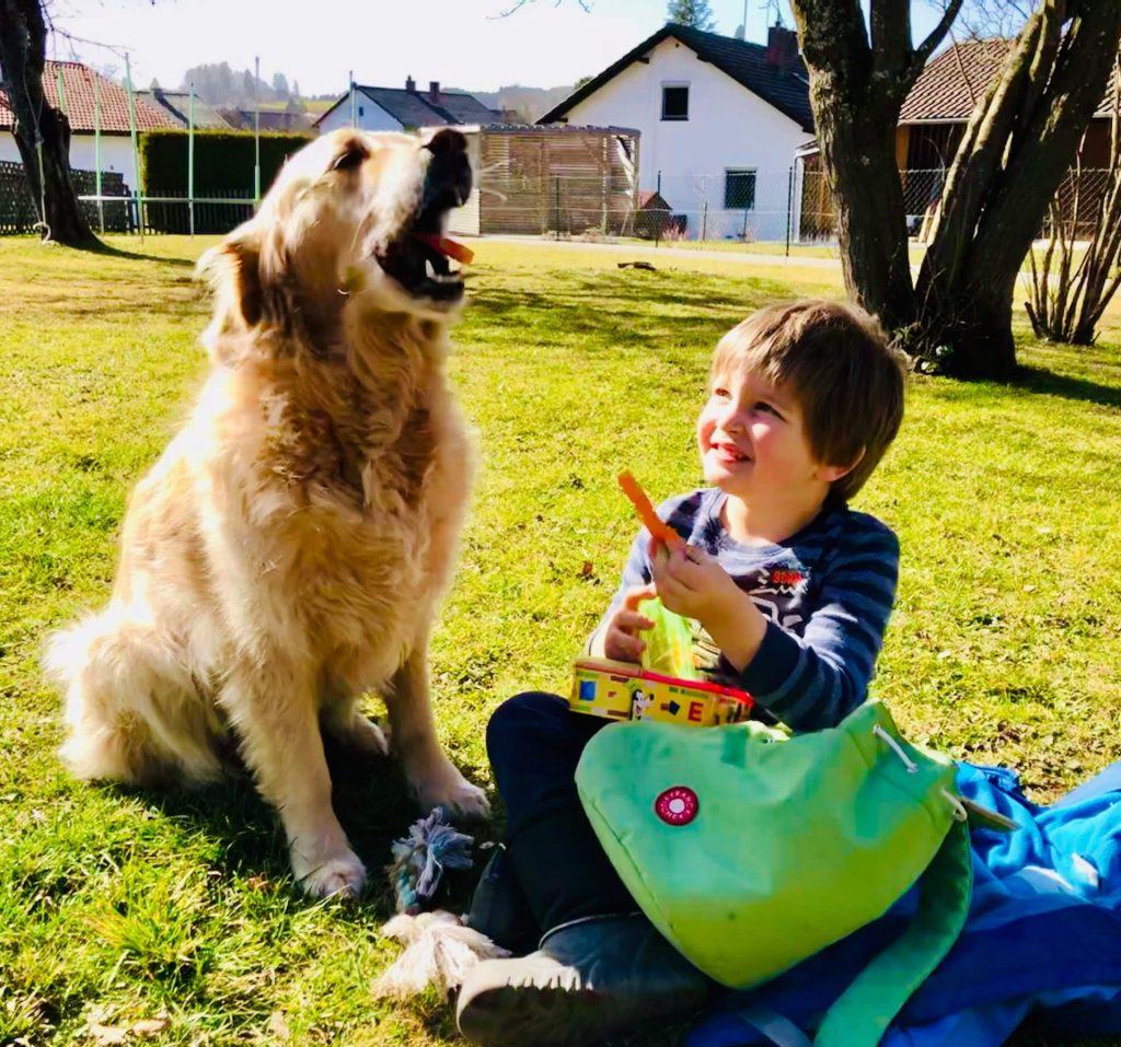 Kind teilt mit Timber seine Brotzeit