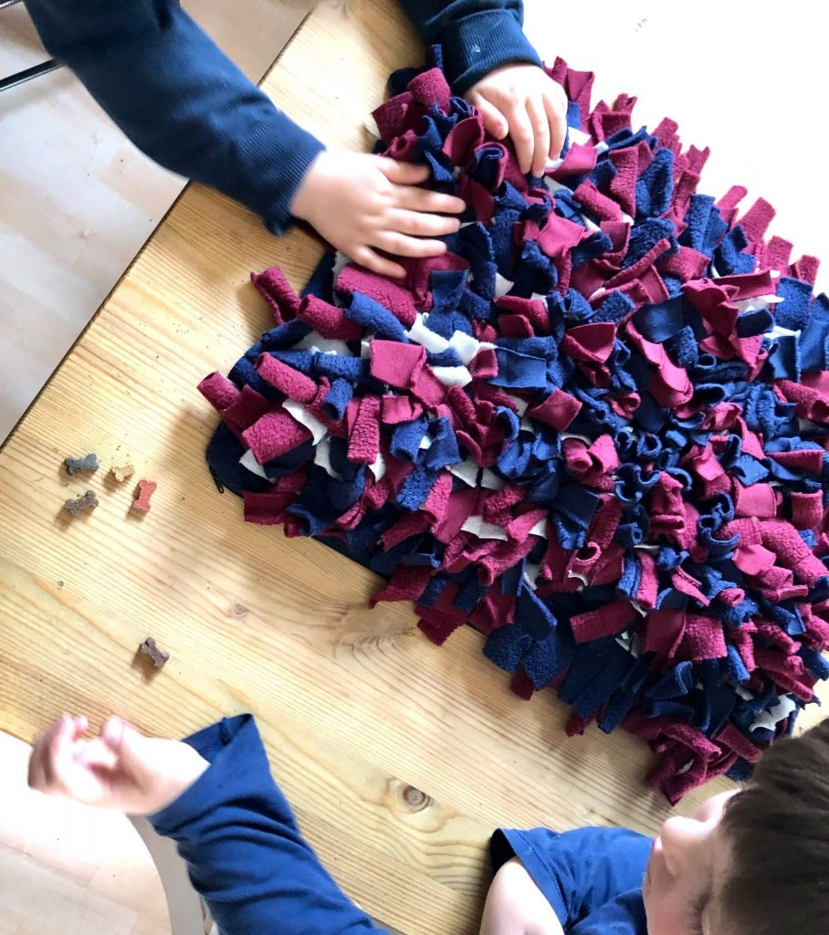 Kinder verstecken leckerlis in der Schnüffeldecke