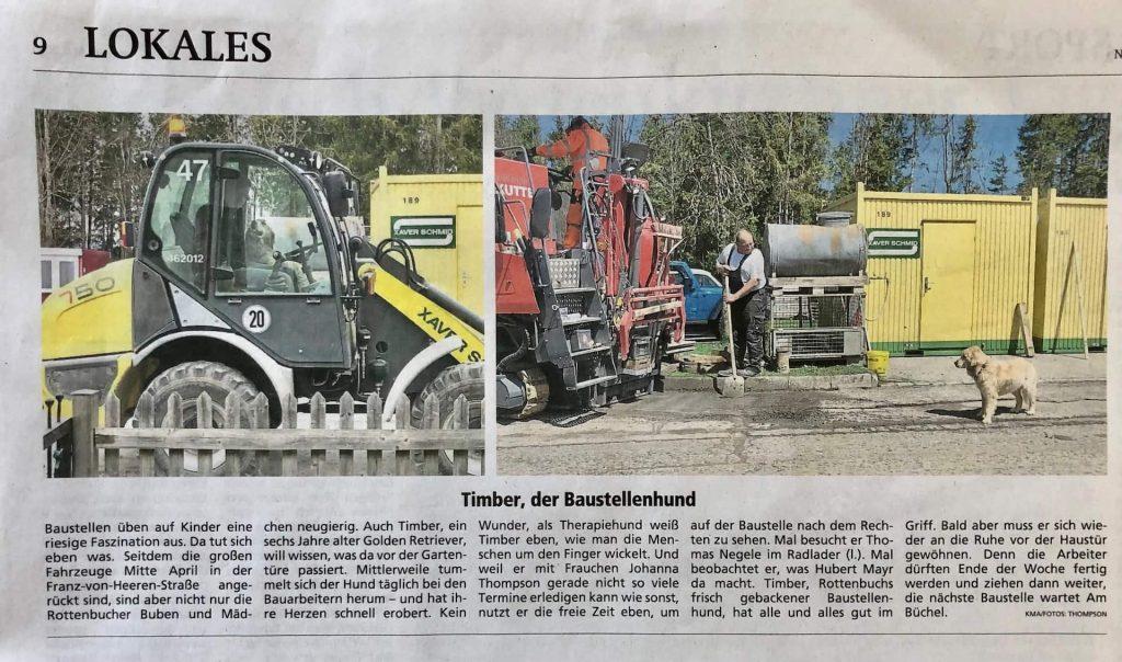 Zeitungsartikel von Timber auf der Baustelle